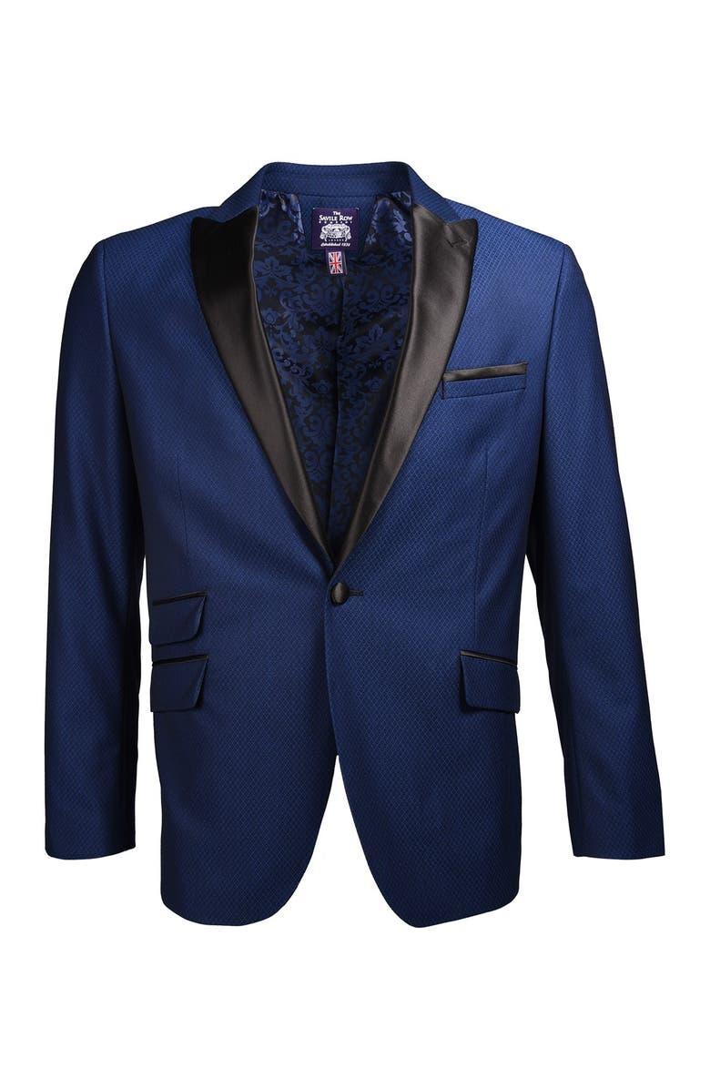 SAVILE ROW Navy One Button Peak Lapel Slim Fit Blazer, Main, color, NAVY