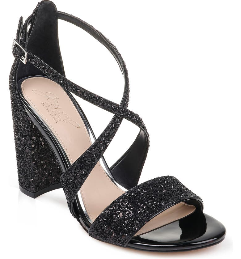 JEWEL BADGLEY MISCHKA Cook Block Heel Glitter Sandal, Main, color, BLACK LEATHER