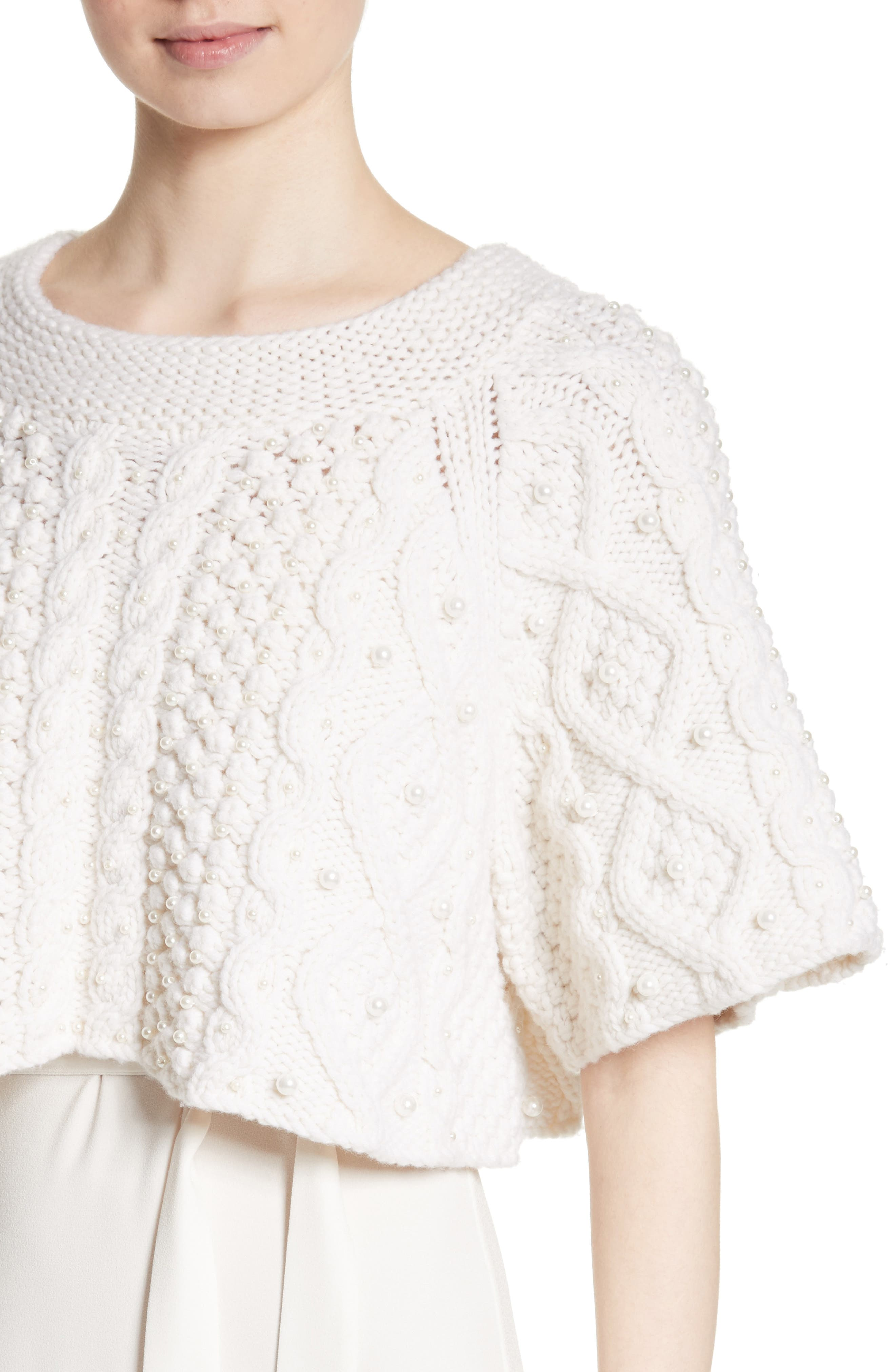 ,                             Cable Knit Wool & Cashmere Crop Sweater,                             Alternate thumbnail 4, color,                             900
