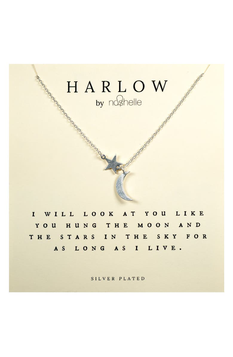 NASHELLE HARLOW by Nashelle Moon & Stars Boxed Necklace, Main, color, SILVER