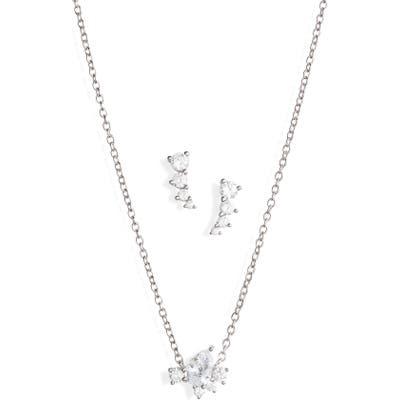 Nordstrom Cubic Zirconia Cluster Earrings & Necklace Set