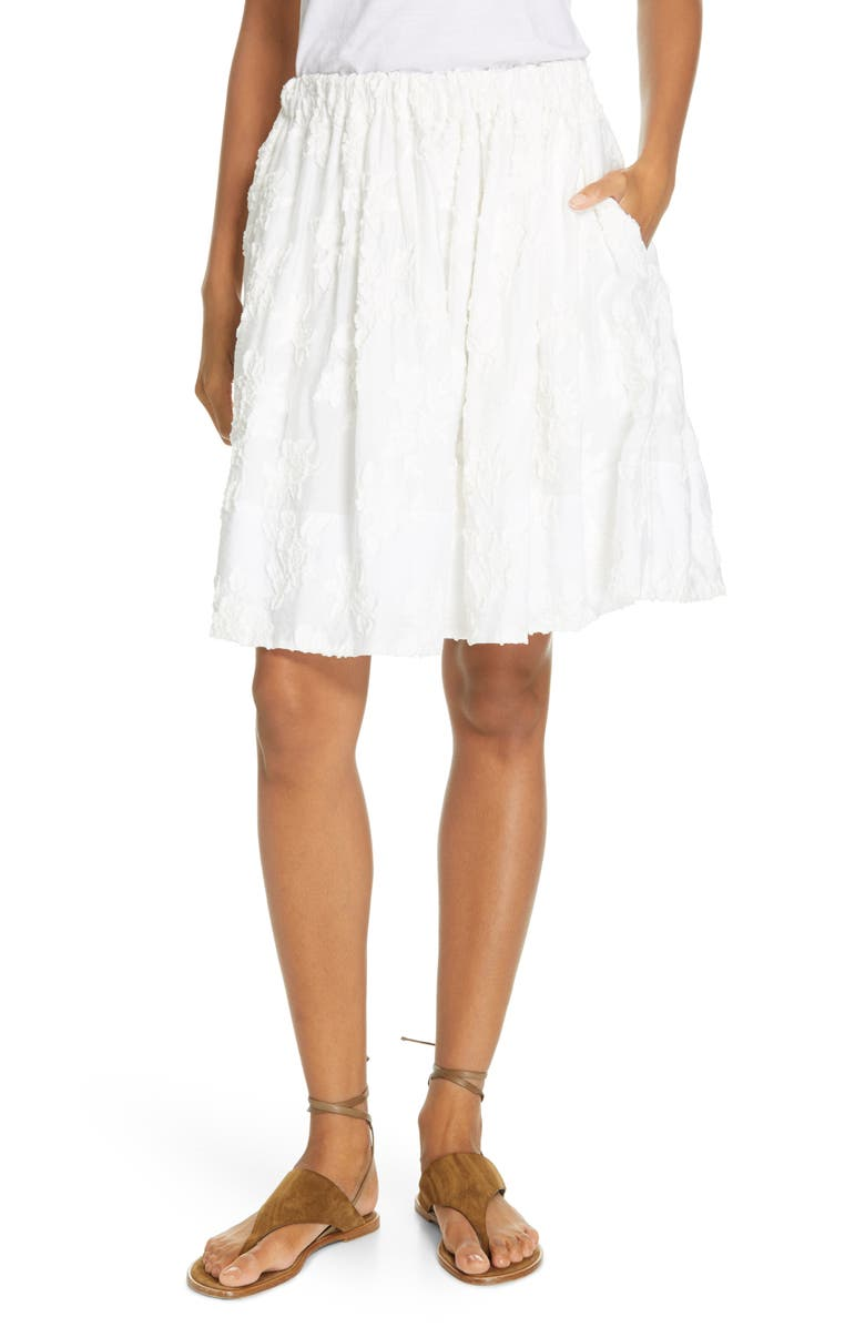 VINCE Textured Floral Gathered Skirt, Main, color, OPTIC WHITE