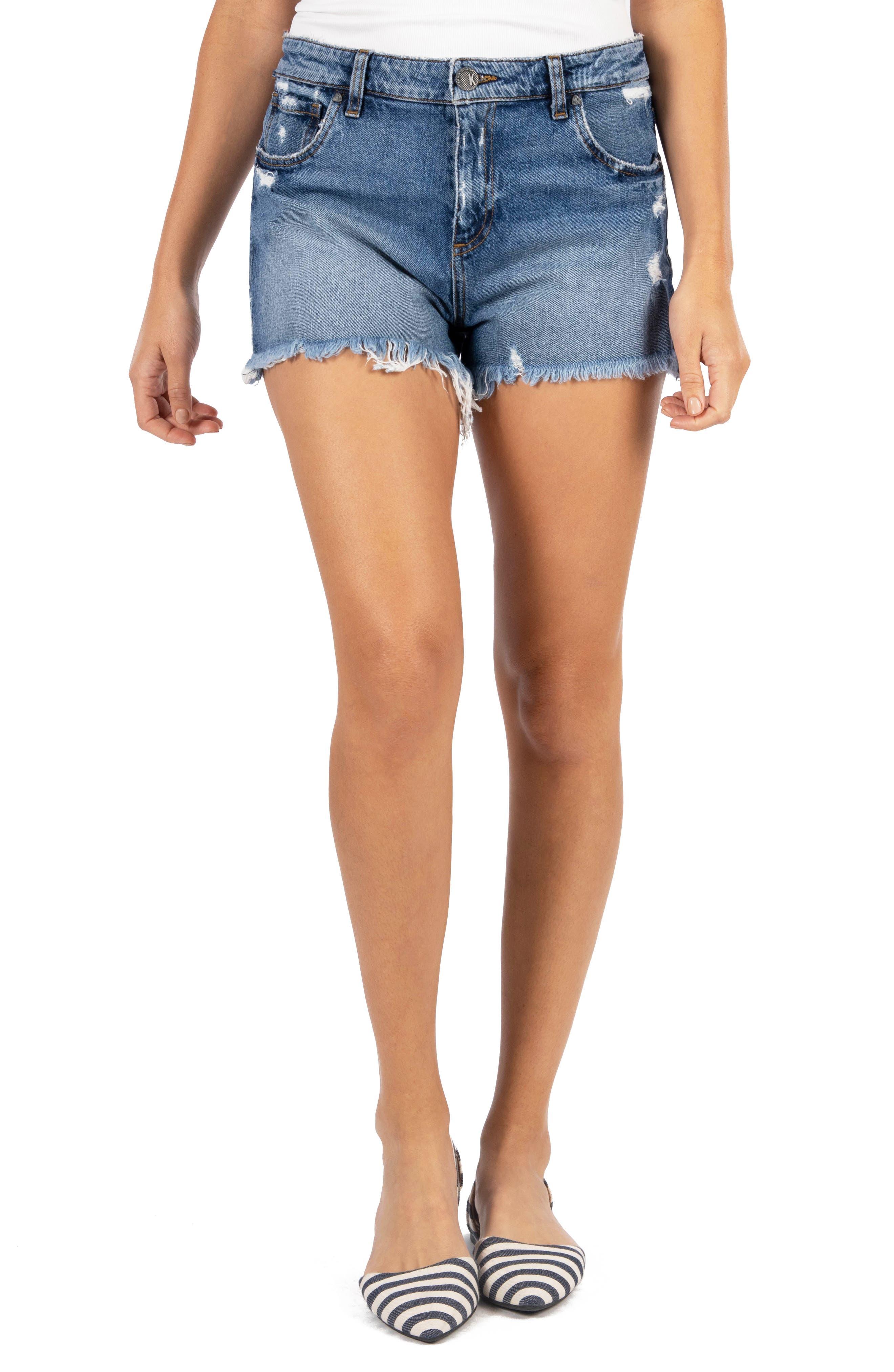 Jane High Waist Distressed Fray Hem Cutoff Denim Shorts