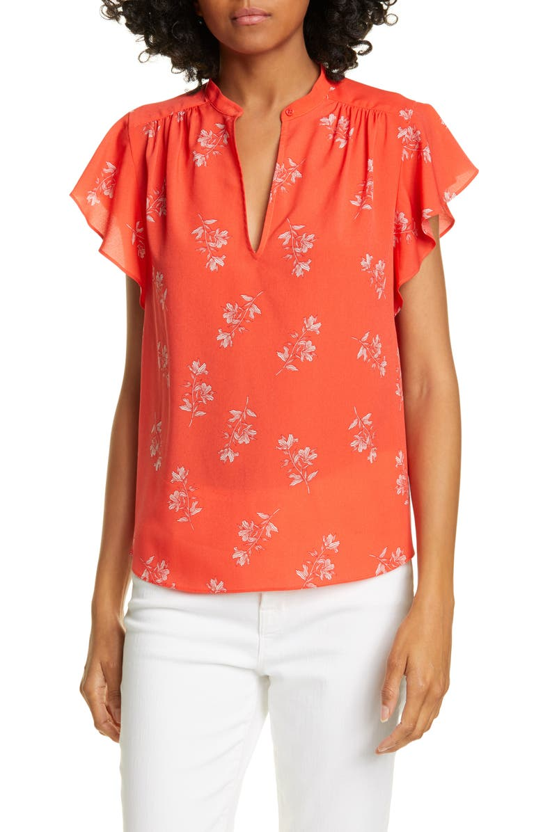 JOIE Marlina Cap Sleeve Floral Top, Main, color, POPPY