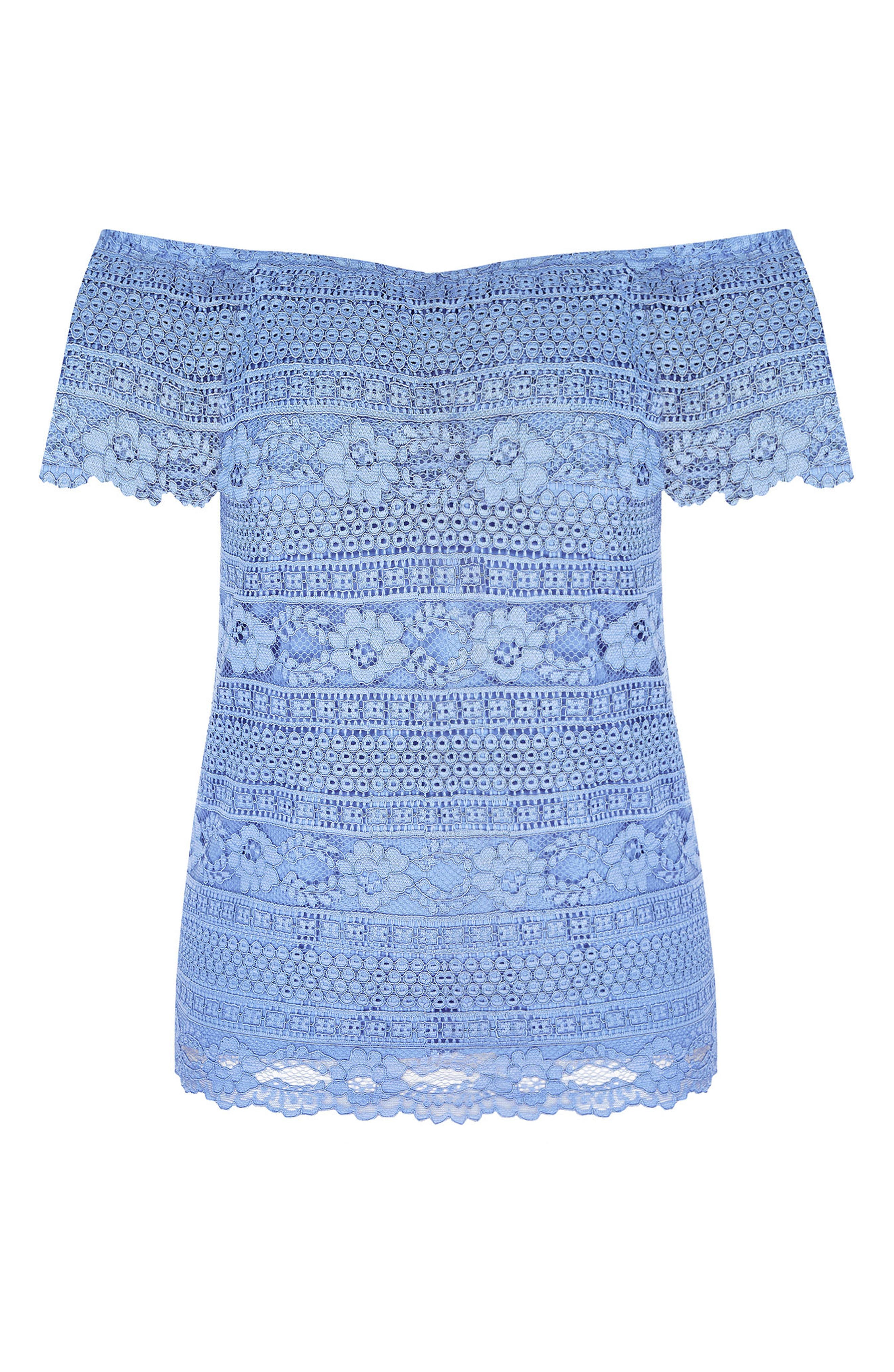 ,                             Summer Frill Lace Off the Shoulder Top,                             Alternate thumbnail 3, color,                             CORNFLOWER