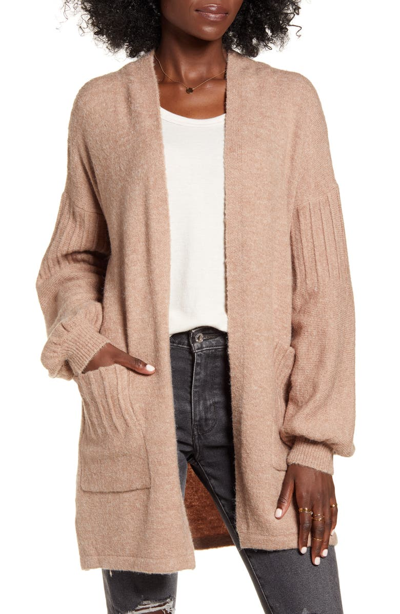 DREAMERS BY DEBUT Balloon Sleeve Cardigan, Main, color, TAN