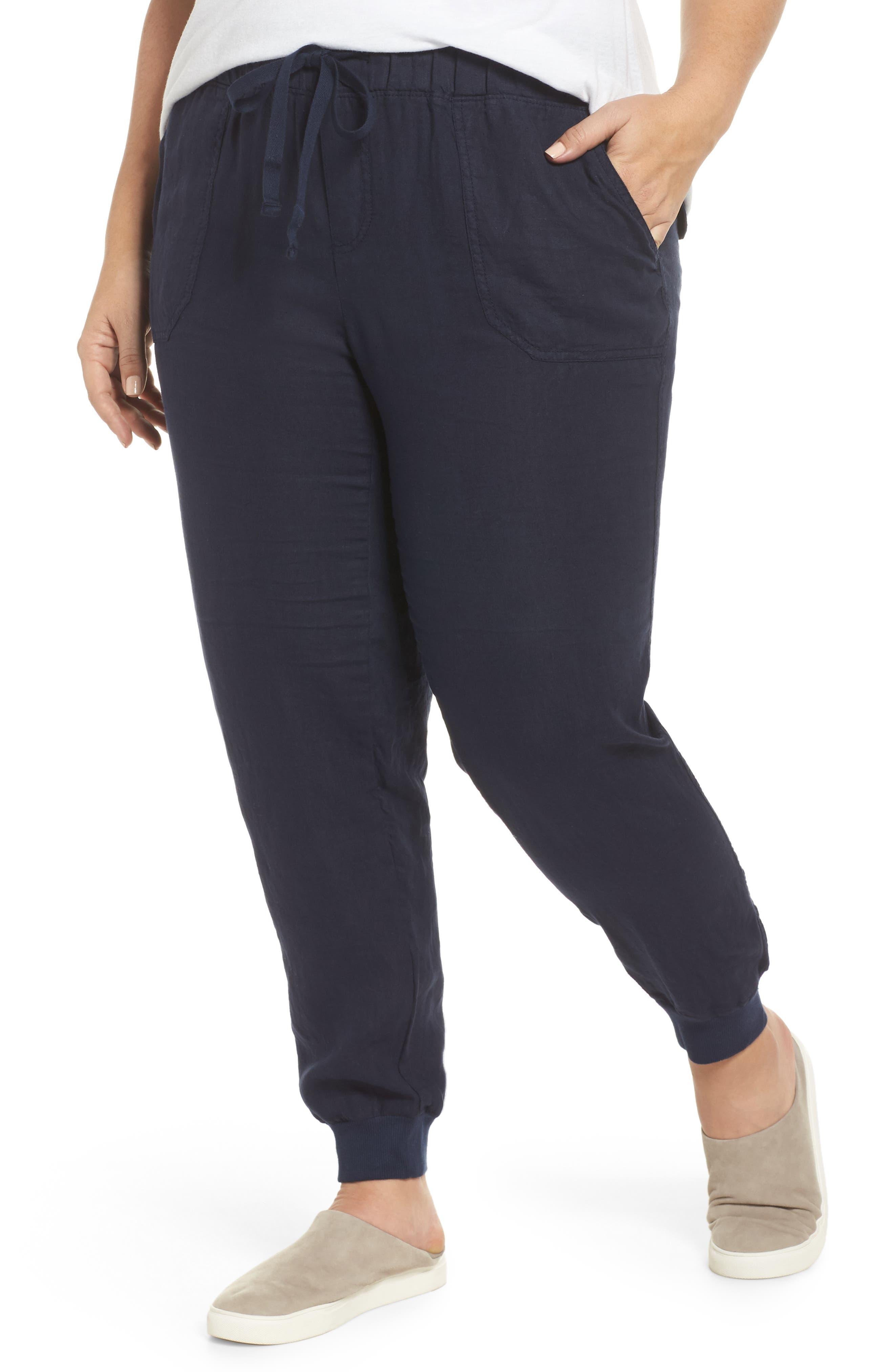 Plus Size Women's Caslon Drawstring Linen Joggers