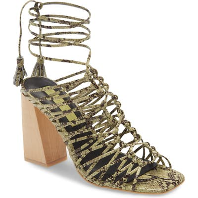 Imagine Vince Camuto Snake Embossed Ankle Wrap Cage Sandal- Green