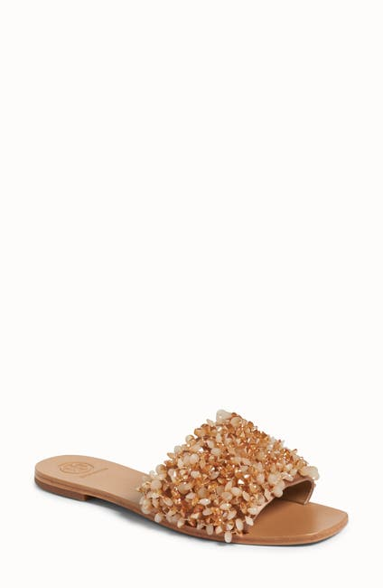 Image of Tory Burch Logan Embellished Slip-On Sandal