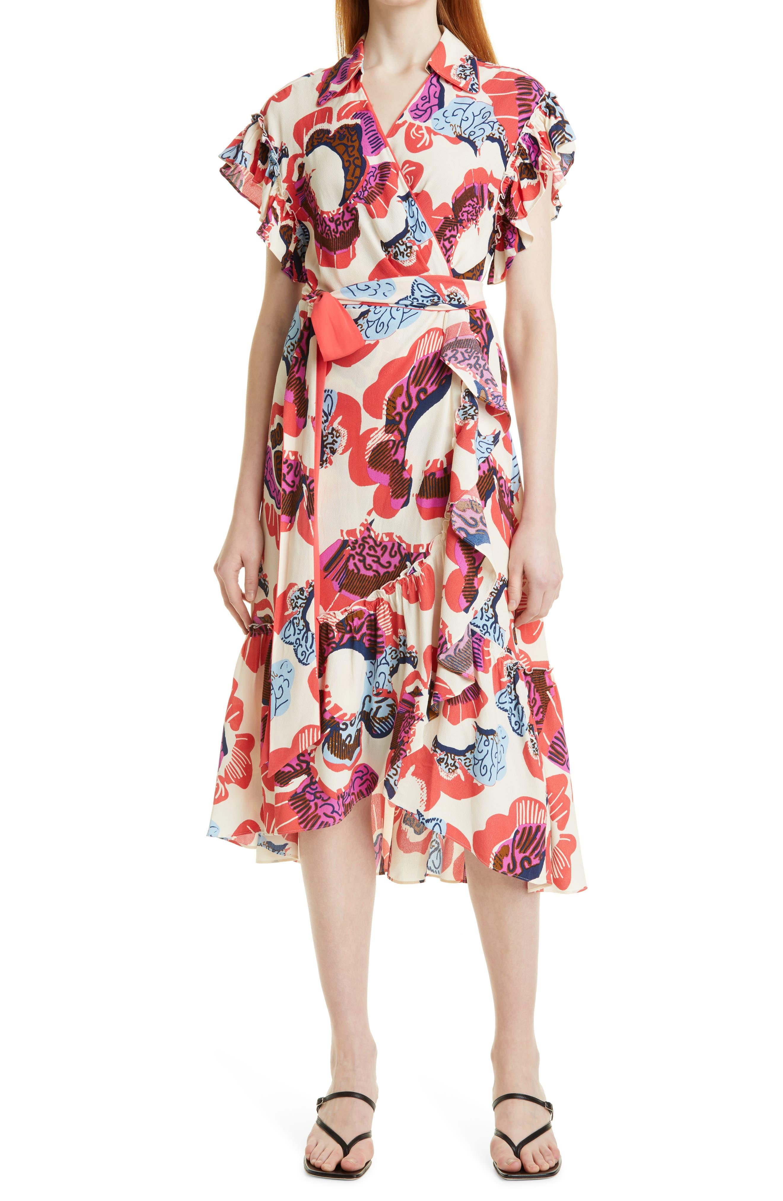 Ruth Floral Short Sleeve Wrap Dress