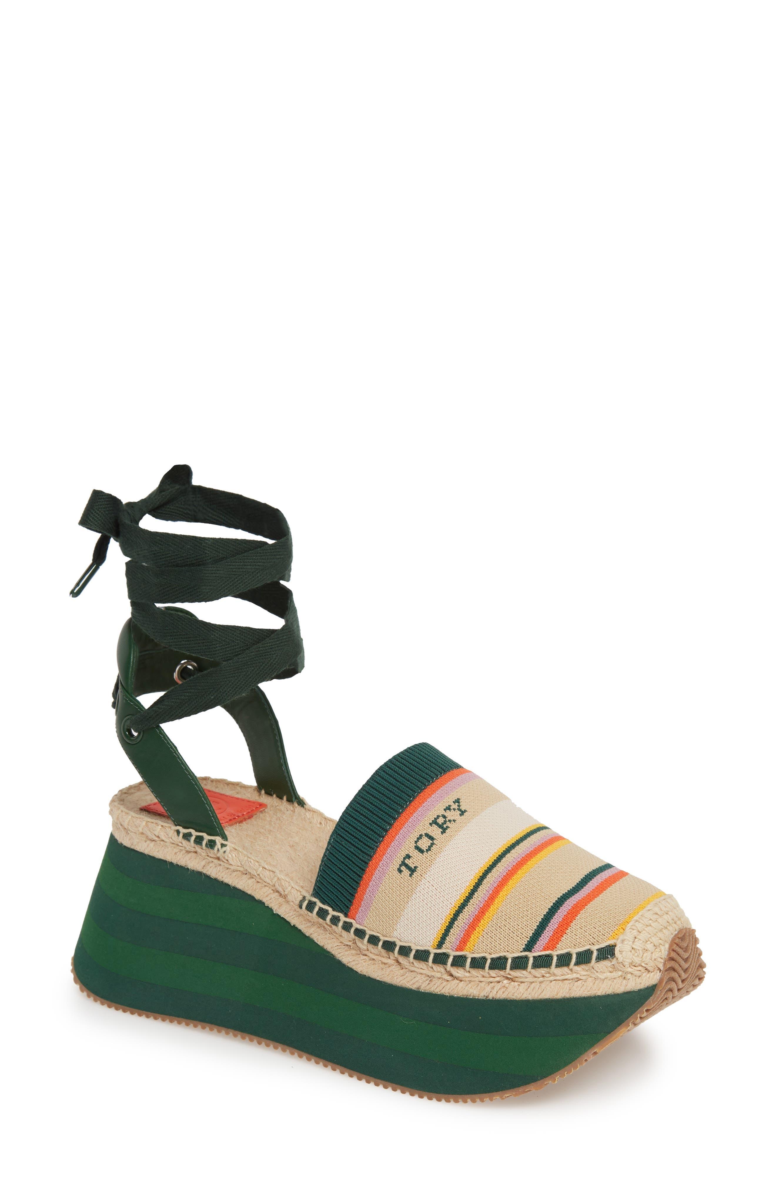 Tory Burch Daisy Lace-Up Platform Shoe, Green