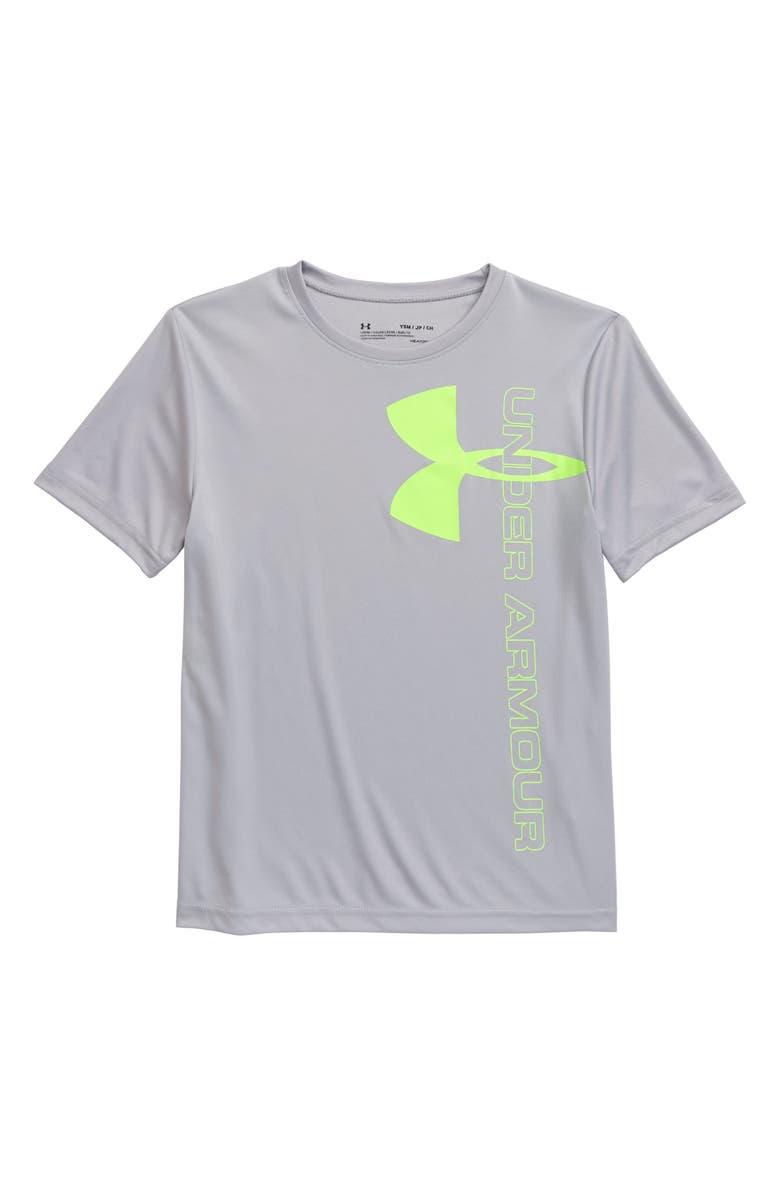 UNDER ARMOUR Split Logo Hybrid HeatGear<sup>®</sup> Performance T-Shirt(Big Boys), Main, color, MOD GRAY/ LIME LIGHT