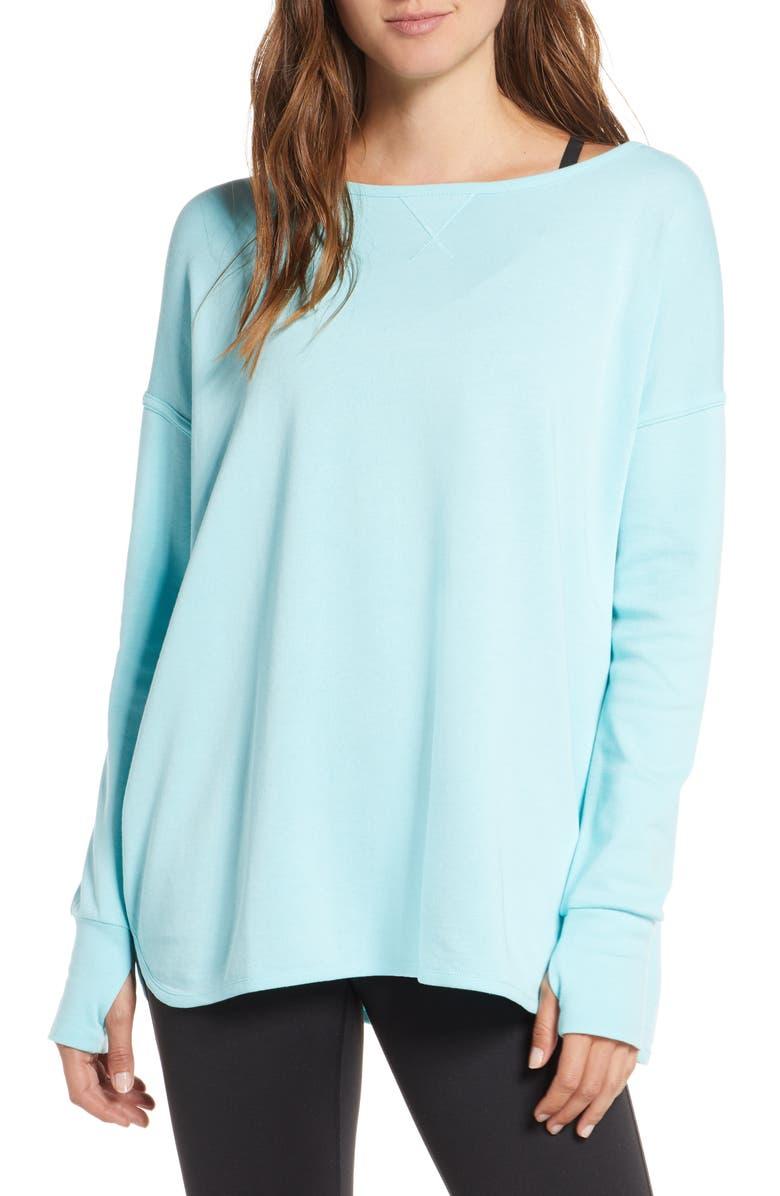 SWEATY BETTY Simhasana Back Cutout Pullover, Main, color, ANGEL BLUE