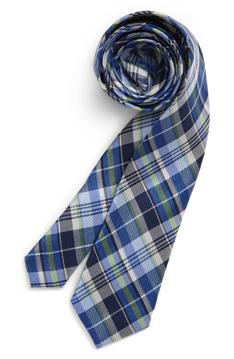 MICHAEL KORS White Warp Plaid Silk Tie, Main, color, 300