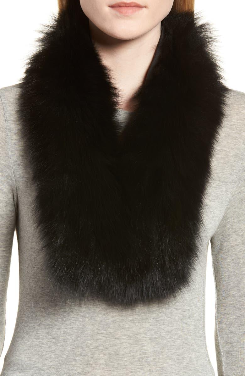 LA FIORENTINA Genuine Fox Fur Collar, Main, color, BLACK