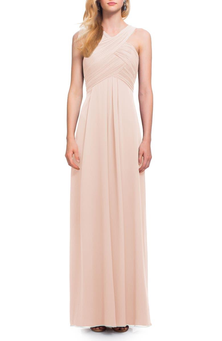 #LEVKOFF Crisscross Neck Chiffon A-Line Gown, Main, color, PETAL PINK