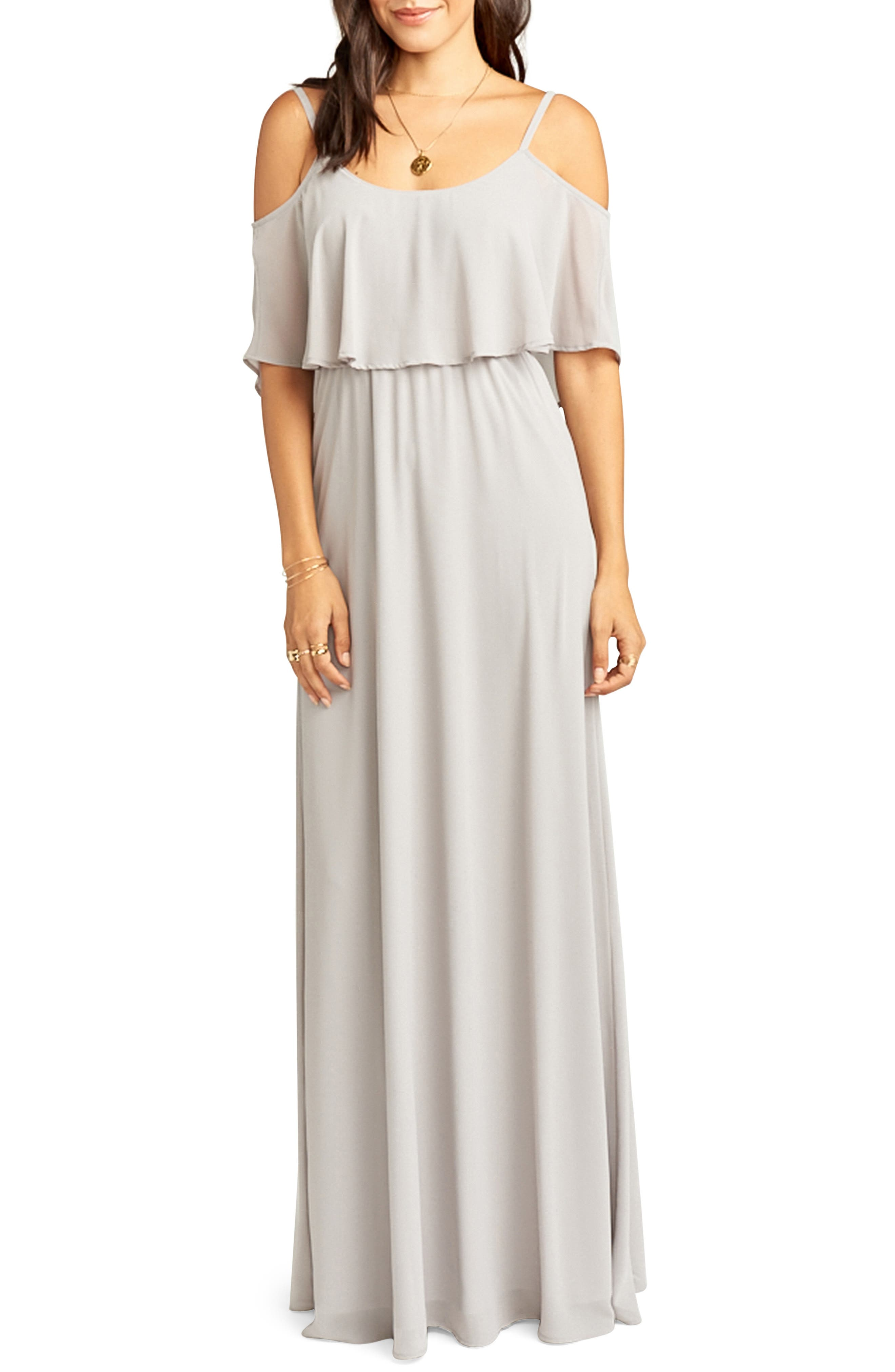 Caitlin Cold Shoulder Chiffon Gown, Main, color, DOVE GREY