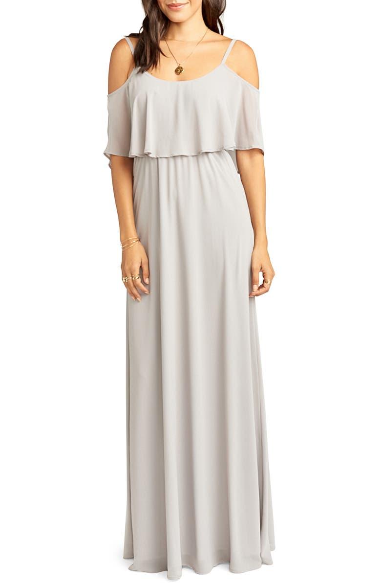 SHOW ME YOUR MUMU Caitlin Cold Shoulder Chiffon Gown, Main, color, DOVE GREY
