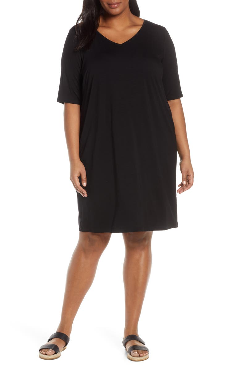 EILEEN FISHER V-Neck Shift Dress, Main, color, 001