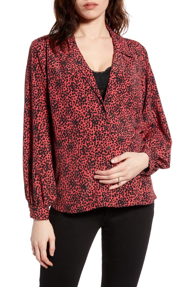 TOPSHOP Animal Print Maternity Shirt, Main, color, RED MULTI
