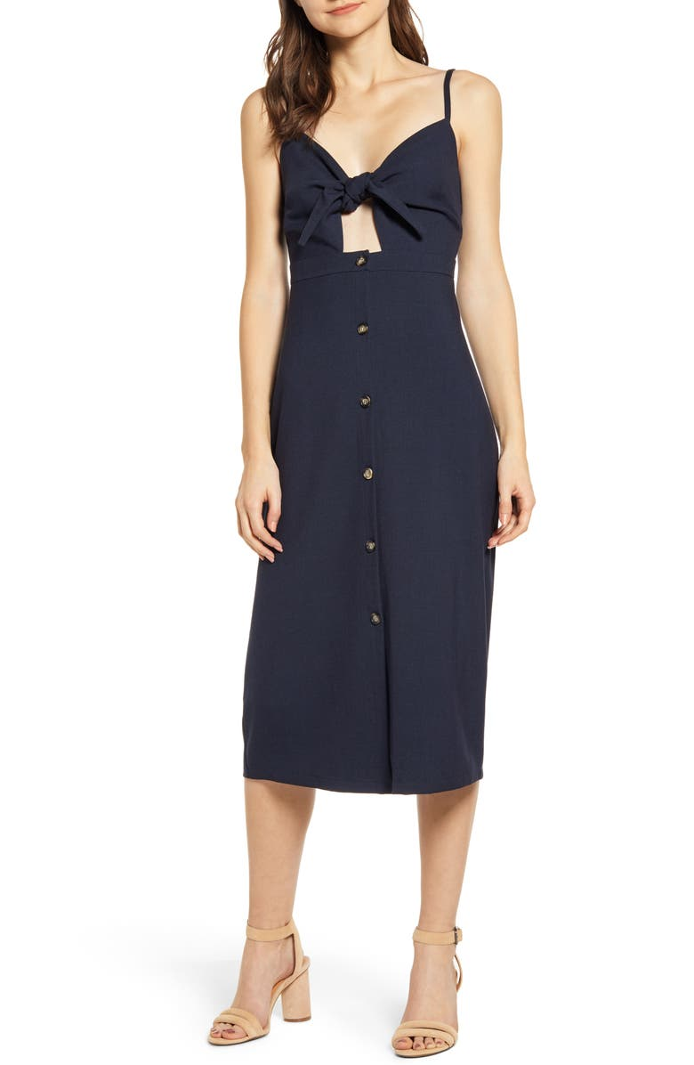 BISHOP + YOUNG Tie Front Dress, Main, color, NAVY