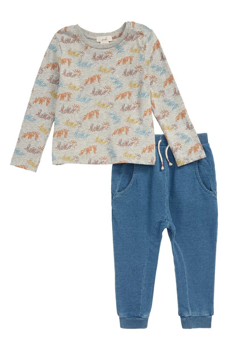 PEEK ESSENTIALS Hello T-Shirt & Ribbed Leggings Set, Main, color, BLUE PRINT