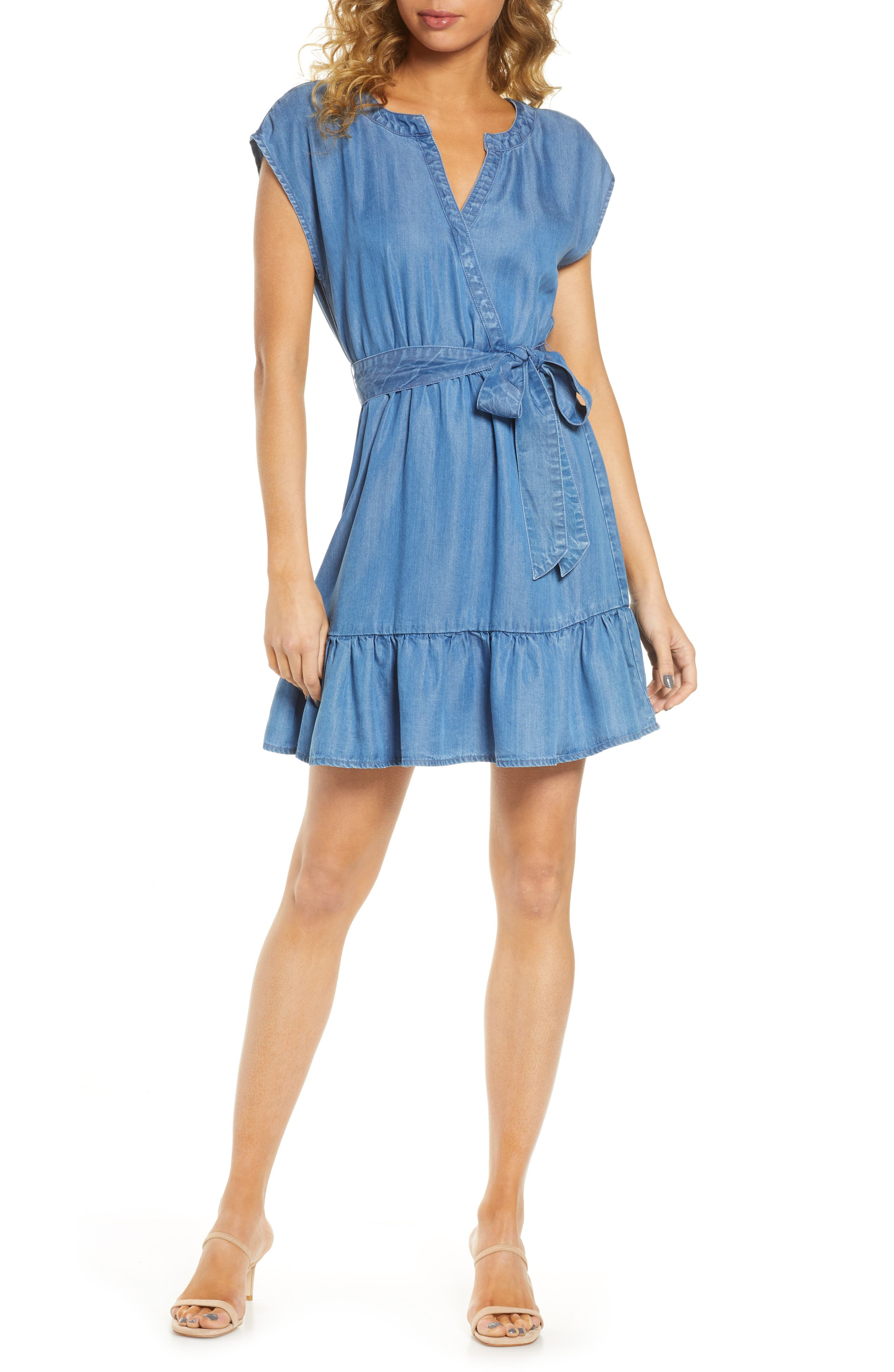 Image of BB Dakota Indigo Lyocell Wrap Dress