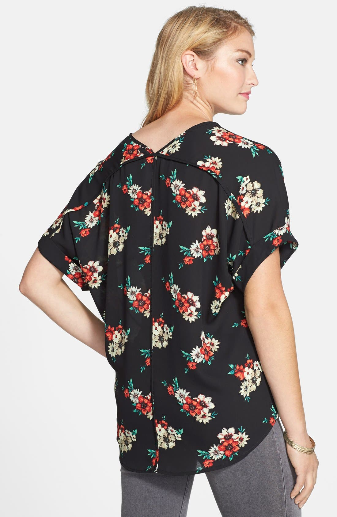 ,                             Lush Cuff Sleeve Woven Tee,                             Alternate thumbnail 3, color,                             002