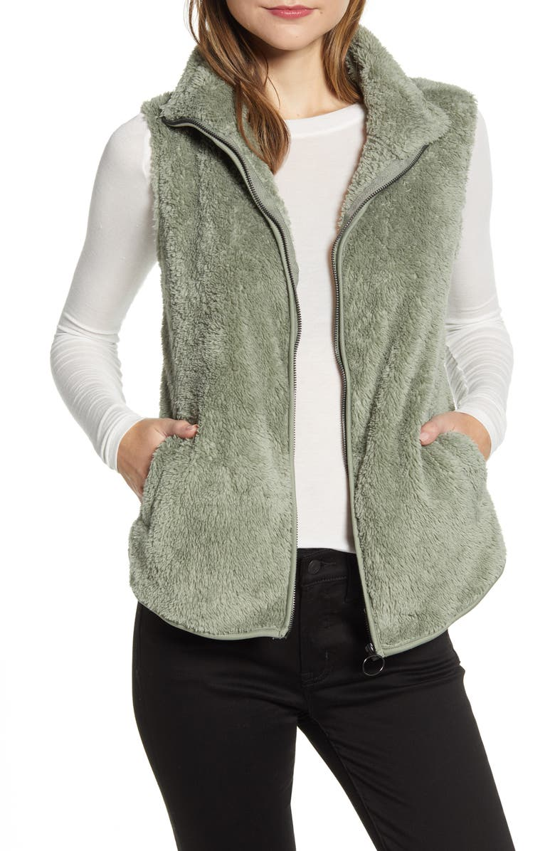 BOBEAU Cozy Fleece Zip Vest, Main, color, SHADOW