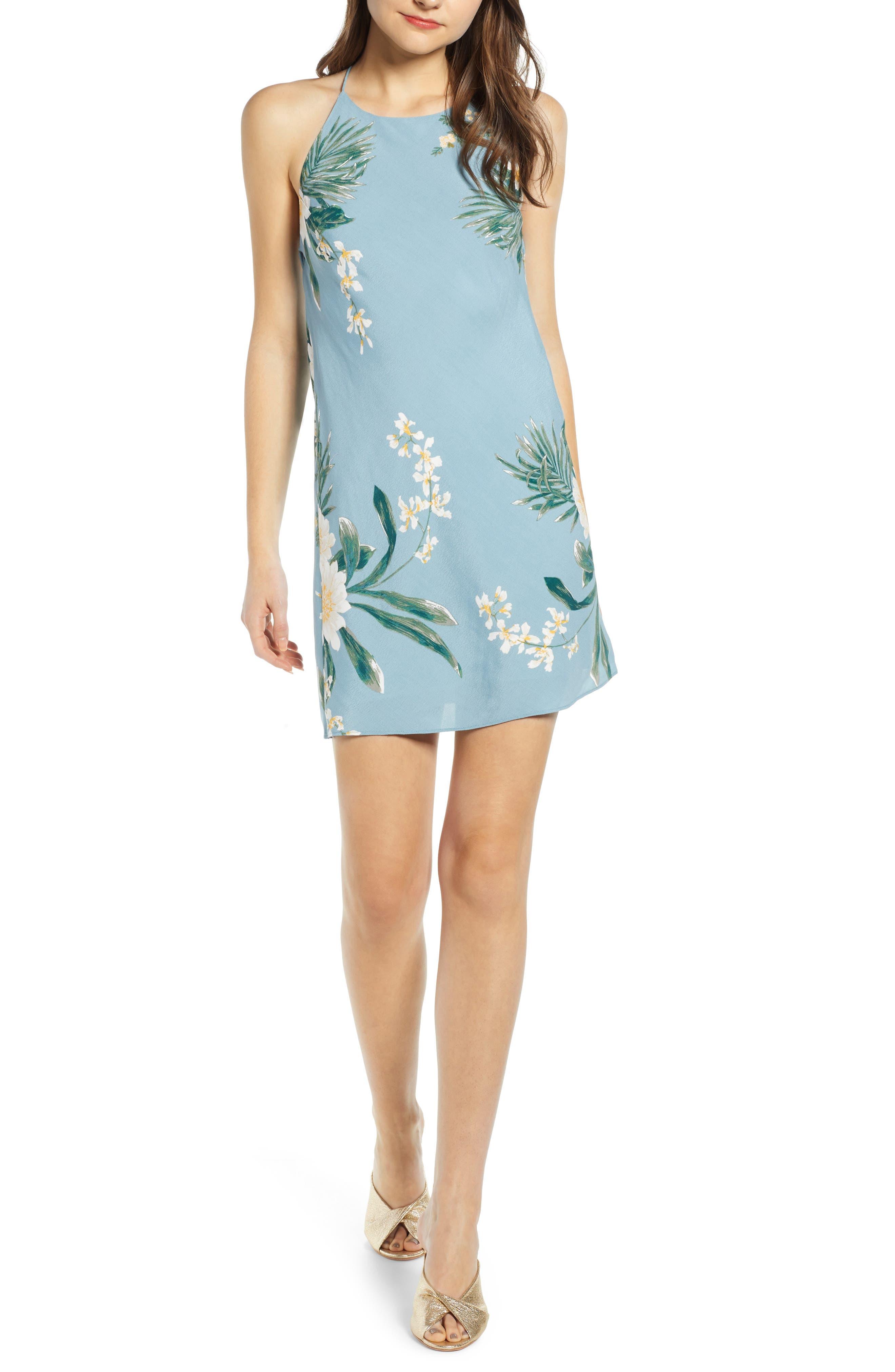 Leith Drape Back Minidress, Blue