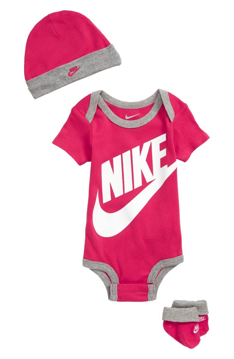 NIKE Futura Logo Graphic Bodysuit, Hat & Booties Set, Main, color, RUSH PINK