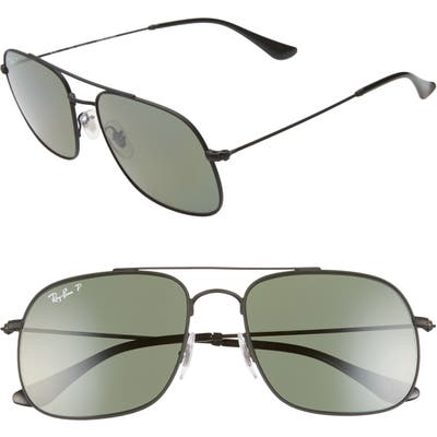 Ray-Ban 5m Polarized Navigator Sunglasses - Rubber Black/ Green Solid