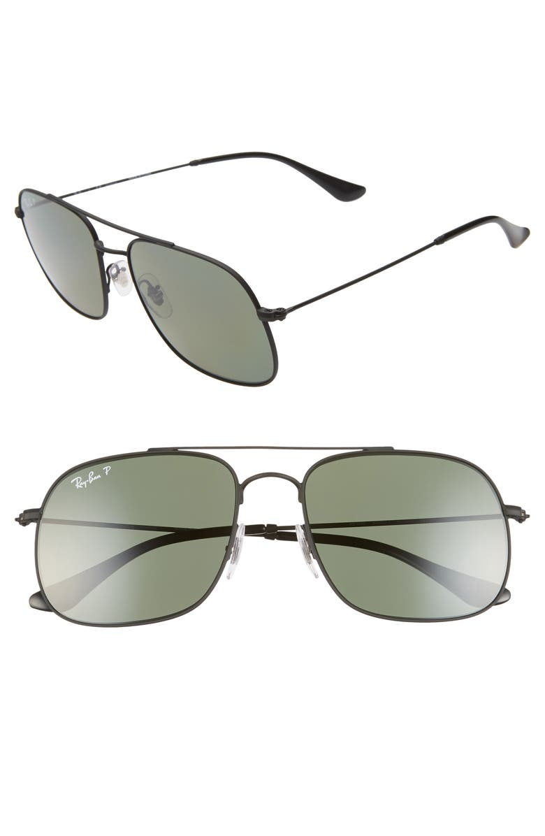 RAY-BAN 56mm Polarized Navigator Sunglasses, Main, color, RUBBER BLACK/ GREEN SOLID