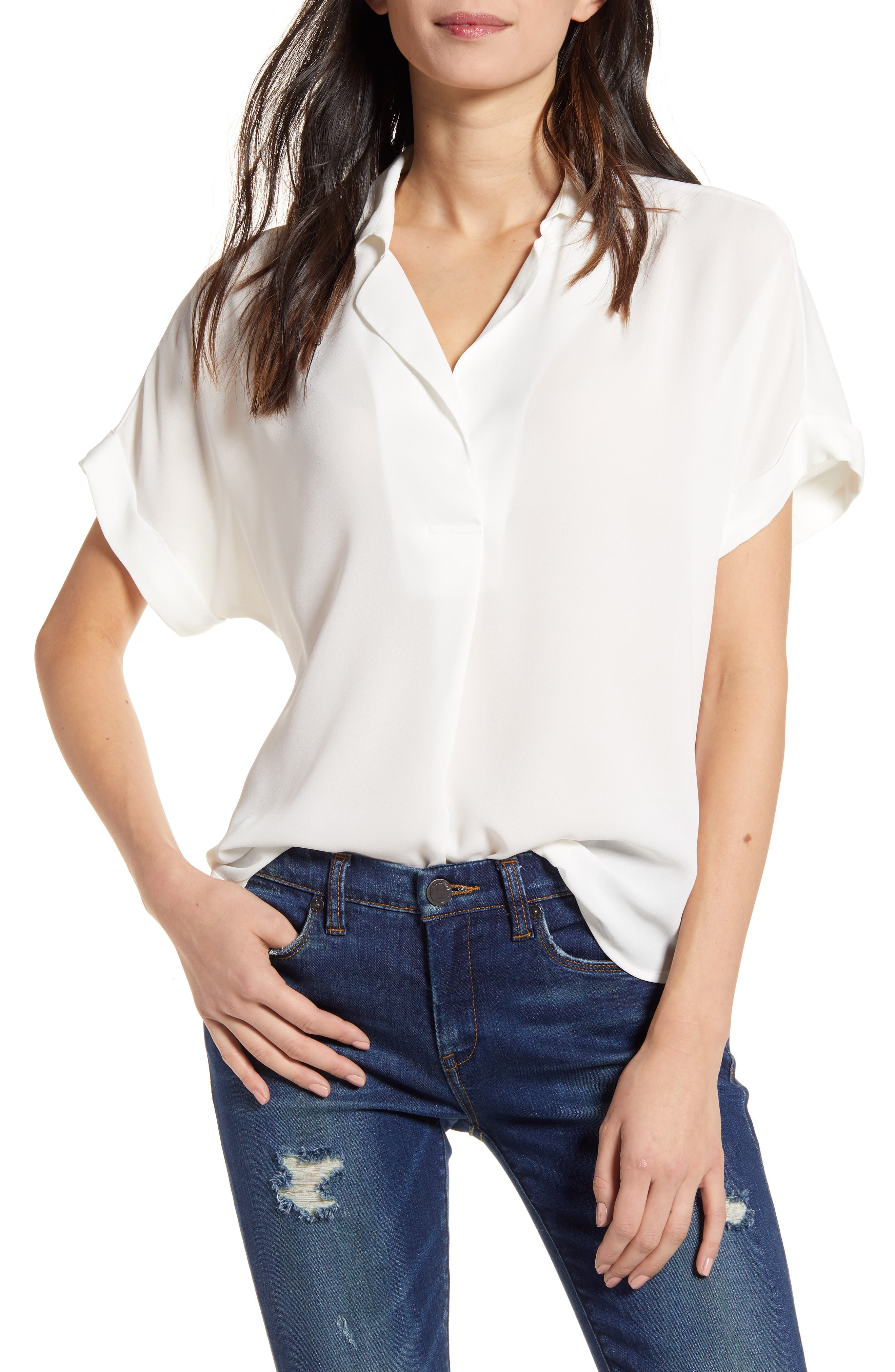 In a playful twist on a classic, this breezy versatile top closes at the back. Style Name: All In Favor Button Back Top. Style Number: 5950424. Available in stores.