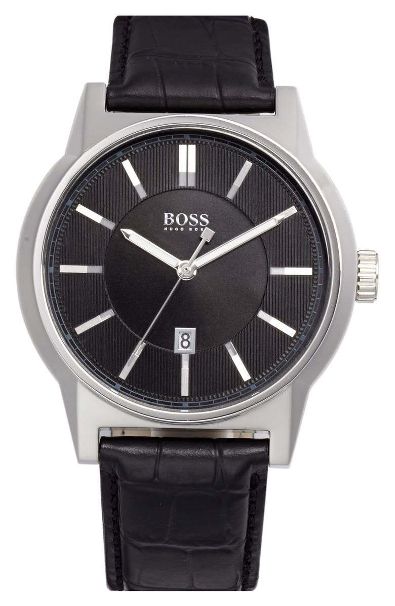 BOSS 'Architecture' Round Leather Strap Watch, 44mm, Main, color, 001