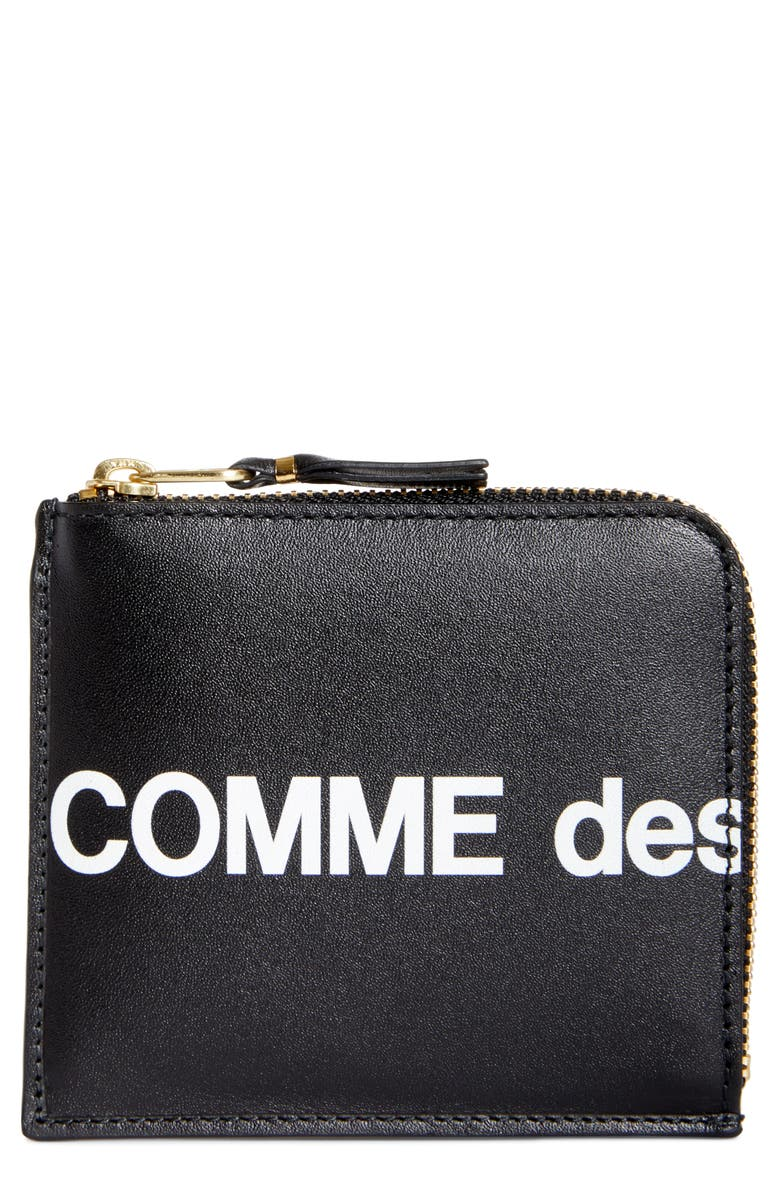 COMME DES GARÇONS Huge Logo Half-Zip Wallet, Main, color, BLACK