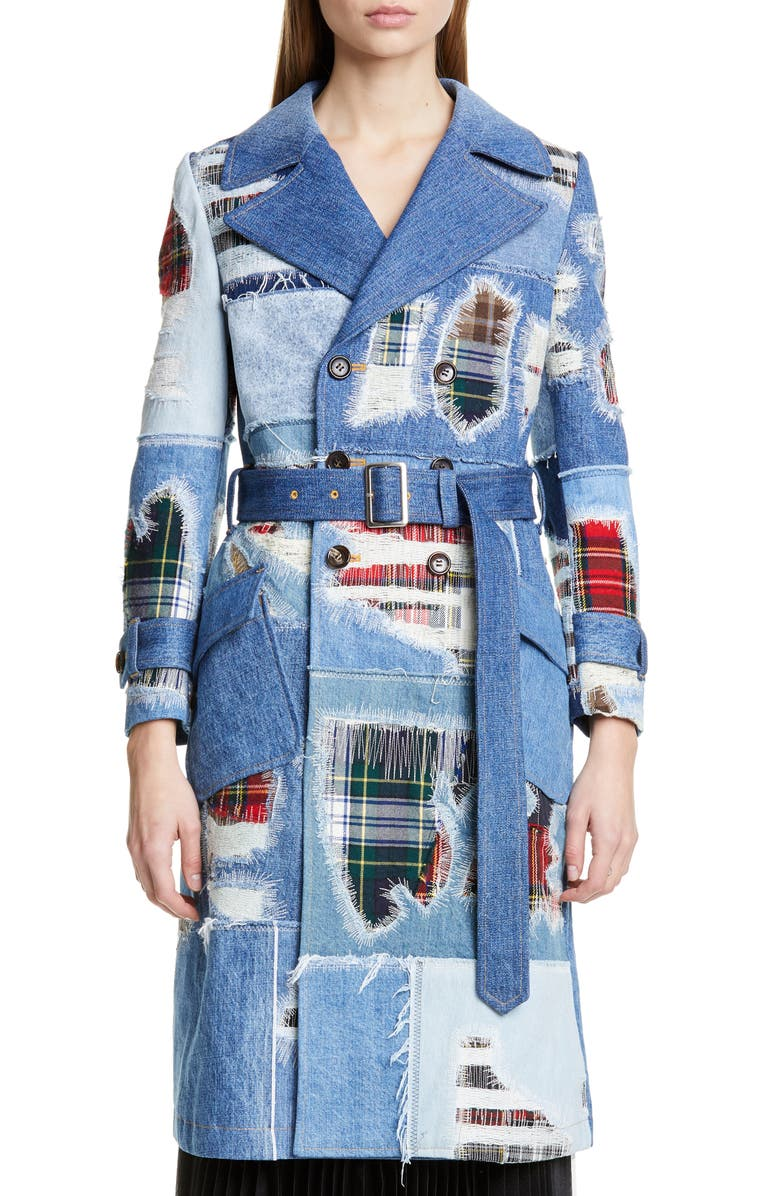 Tartan Patchwork Denim Trench Coat by Junya Watanabe
