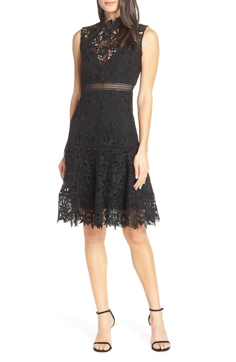 BARDOT Elise Lace Cocktail Dress, Main, color, 001