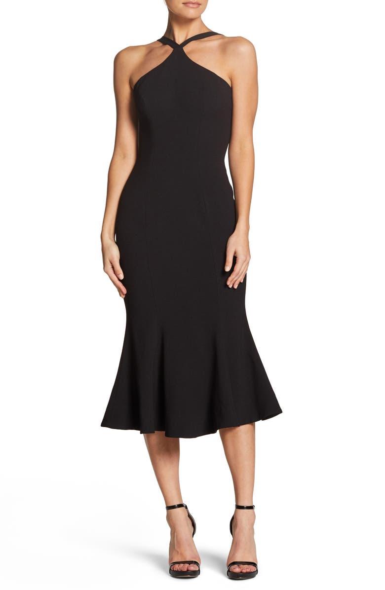 DRESS THE POPULATION Tessa Crepe Mermaid Dress, Main, color, BLACK