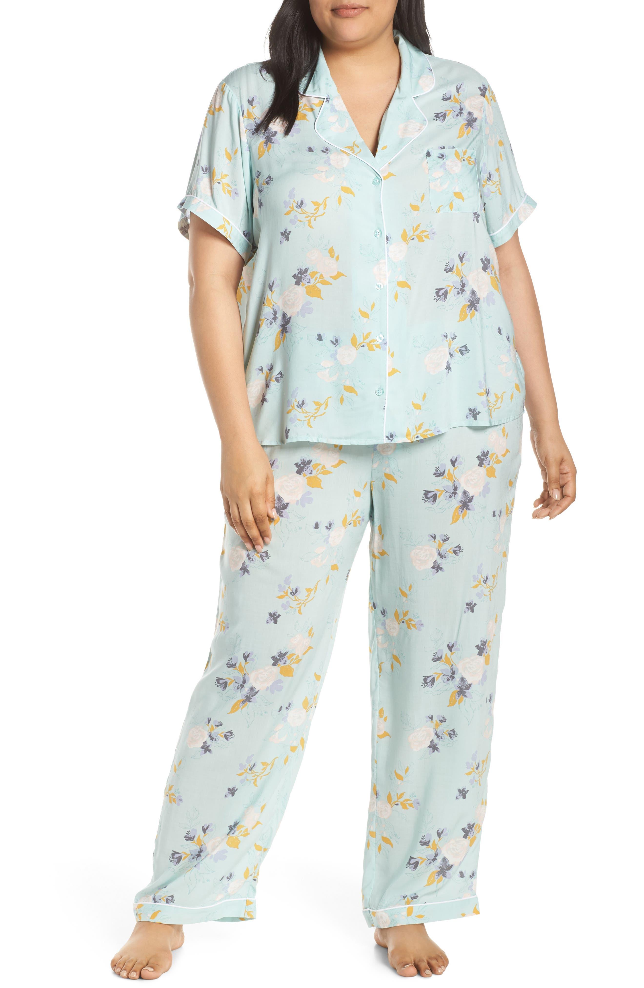 Plus Size Nordstrom Lingerie Sweet Dreams Pajamas, Blue/green