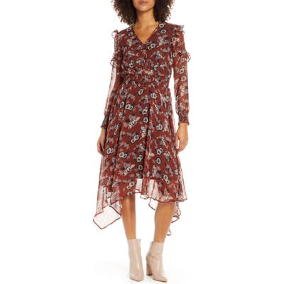 Sam Edelman Fanciful Flower Long Sleeve Dress, Red