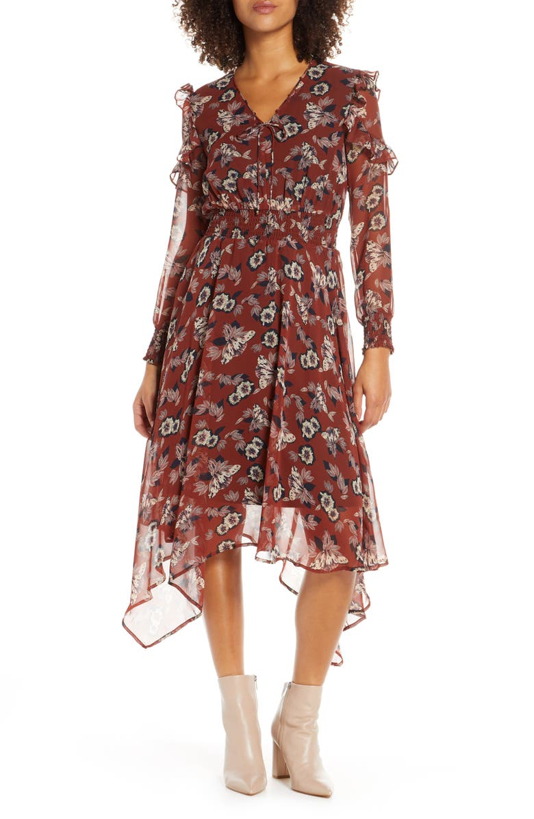 SAM EDELMAN Fanciful Flower Long Sleeve Dress, Main, color, RUST FLORAL