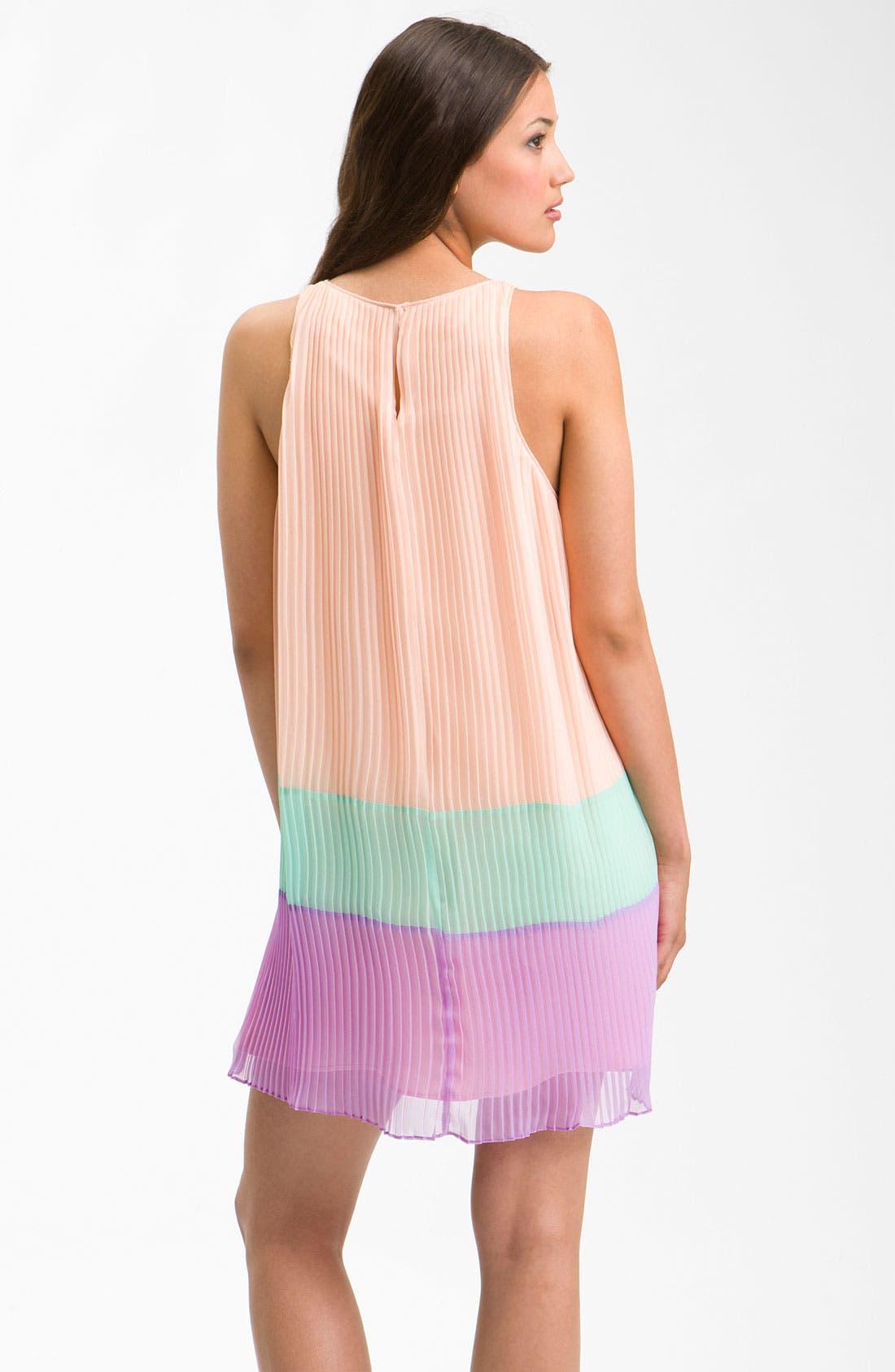 ,                             Pleated Colorblock Shift Dress,                             Alternate thumbnail 3, color,                             650