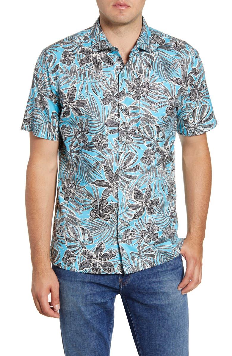 TORI RICHARD Garden Study Regular Fit Floral Short Sleeve Button-Up Shirt, Main, color, SURF