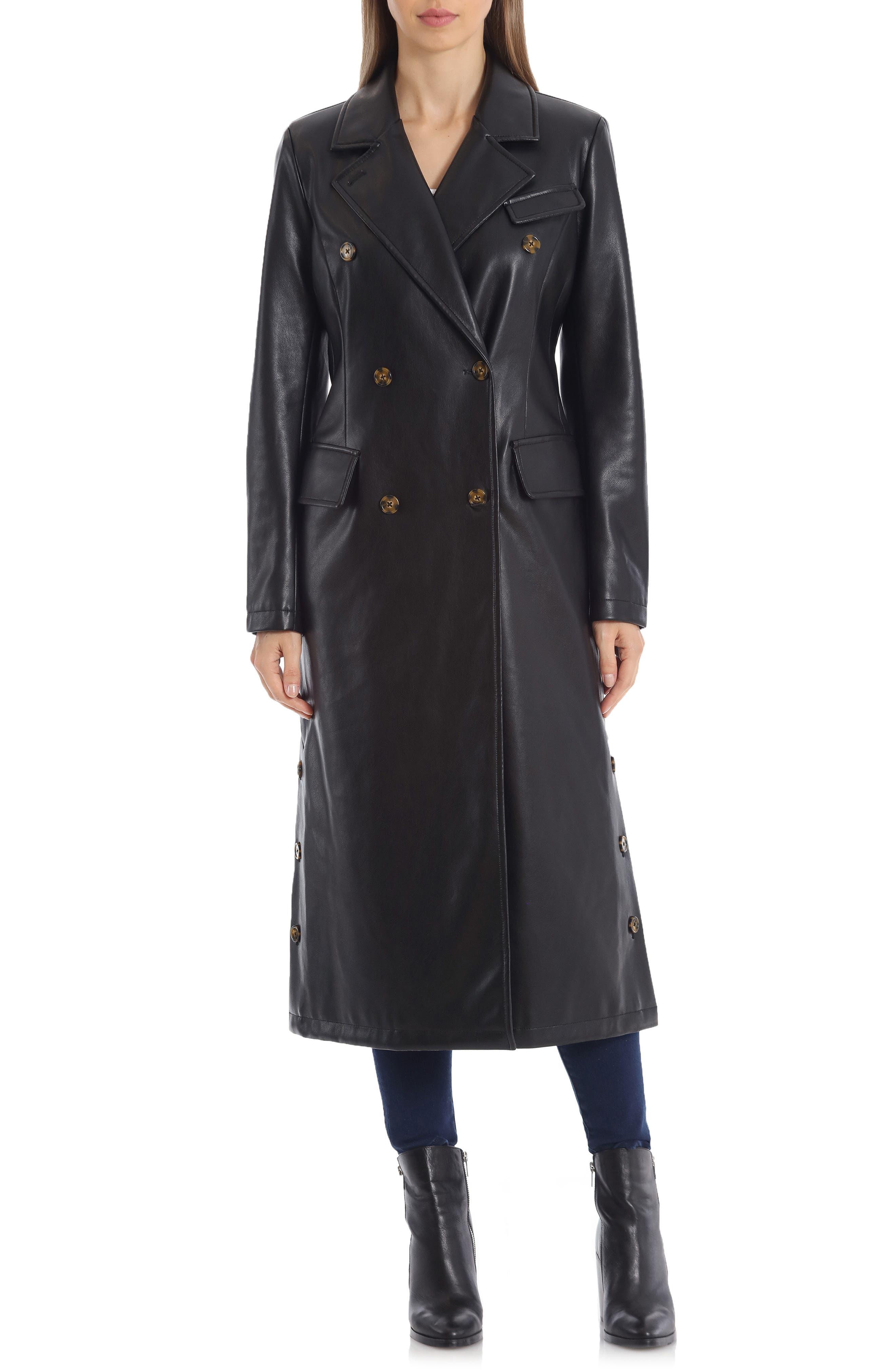 70s Jackets, Furs, Vests, Ponchos Womens Avec Les Filles Double Breasted Faux Leather Trench Coat Size Medium - Black $179.00 AT vintagedancer.com