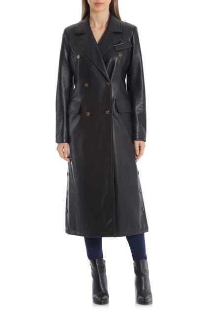 Avec Les Filles DOUBLE BREASTED FAUX LEATHER TRENCH COAT