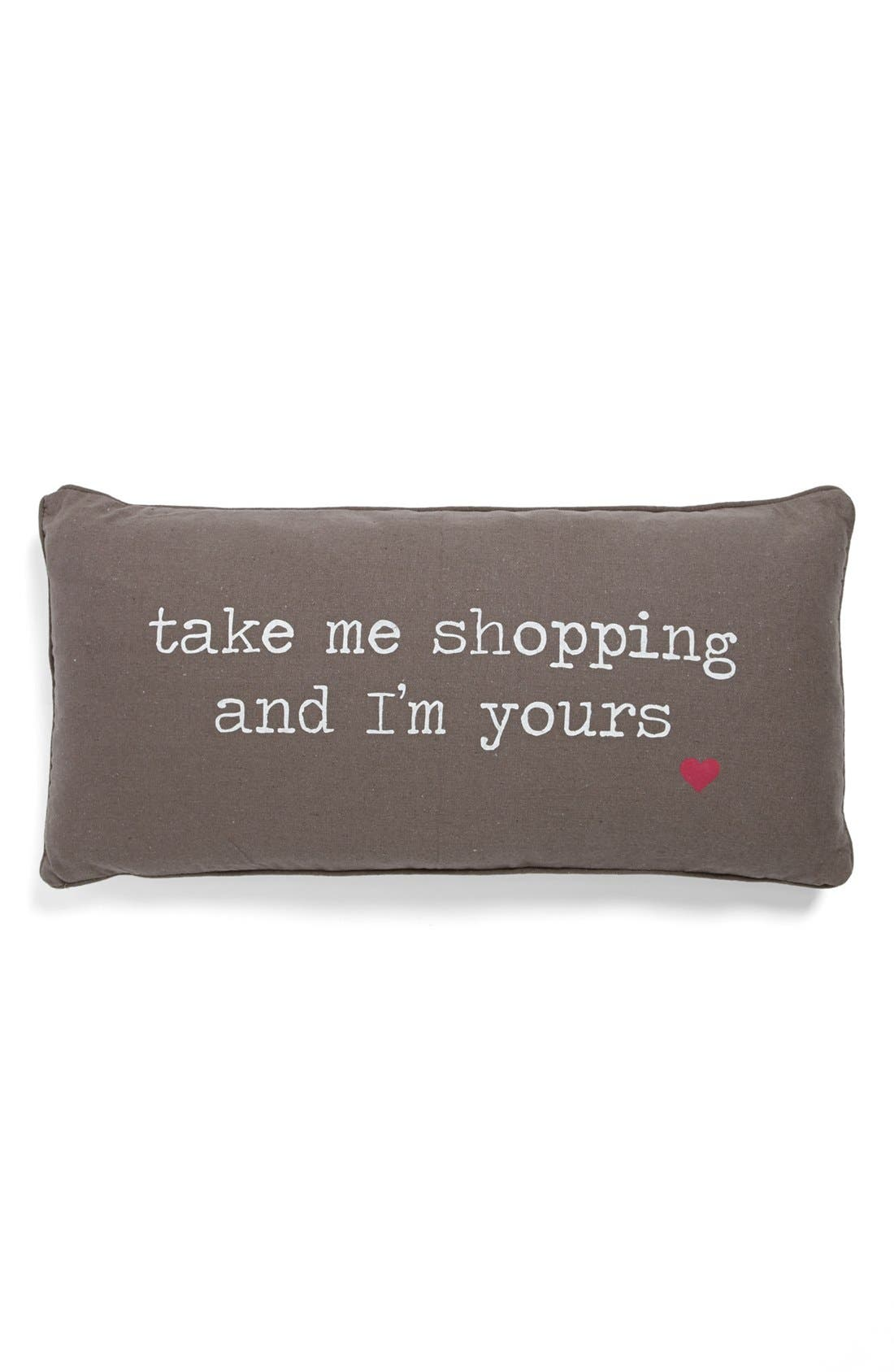 'Take Me Shopping' Pillow, Main, color, 020