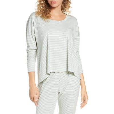 Eberjey Stripes High/low Pajama Top, Beige