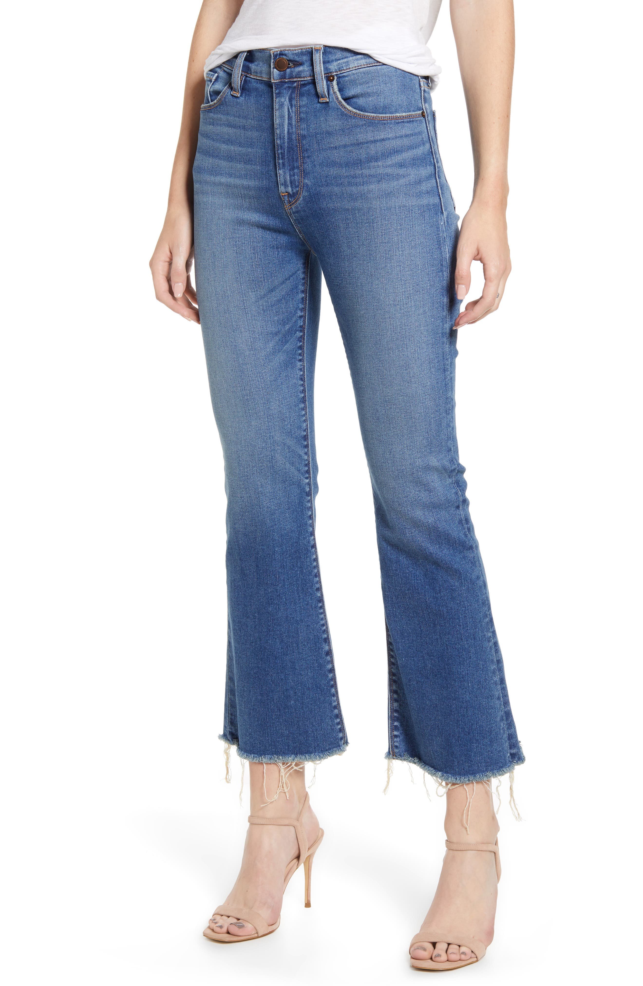 Give your style a \\\'70s kick with these soft and sanded jeans that end in frayed, cropped flares. Style Name: Hudson Jeans Holly Barefoot Crop Flare Jeans (Before Dawn). Style Number: 5870895. Available in stores.