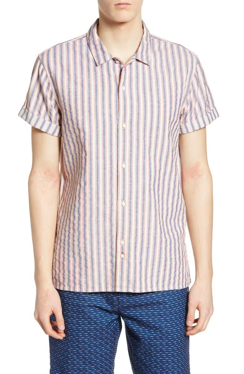 SCOTCH & SODA Structured Stripe Woven Shirt, Main, color, COMBO B